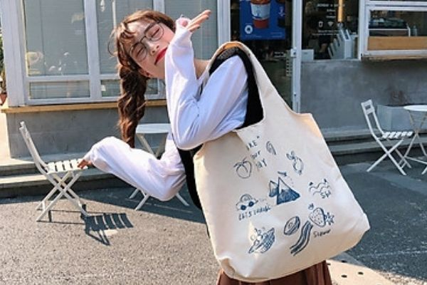 túi vải canvas phong cách Hàn Quốc phong cách nữ tính